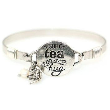 quotA Cup of Tea is Like a Hugquot Handmade Beautiful Bangle Bracelet with Wire Design and Cute Teapot Charm and Bead