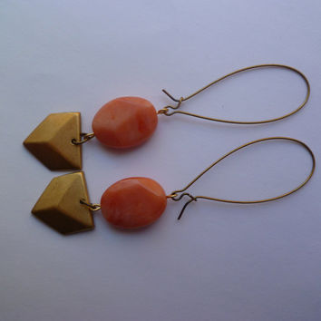 Coral and brass dangle earrings