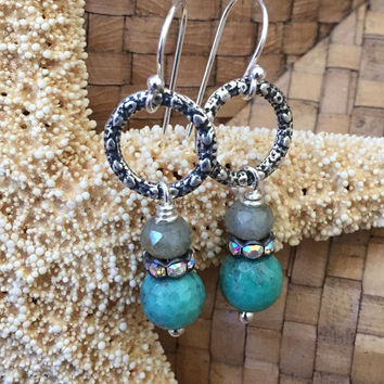 Labradorite & Opal Earrings, Rustic Sterling Silver, Boho Earrings, Beaded Jewelry by Two Silver Sisters