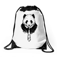 working panda Drawstring Bags