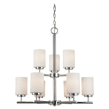 Sea Gull Lighting 31162-05 Oslo Chrome Nine-Light Chandelier with Etched Opal White Glass