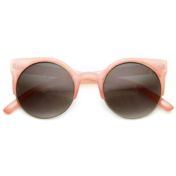 Retro Pastel Color Super Round Circle Cat Eye Womens Sunglasses 8922