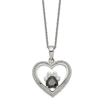 Sterling Silver Black And White CZ Heart With Paw Print Necklace