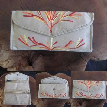 Women Envelope Leather Wallet With Card Holder HANDMADE Embroidered Purse