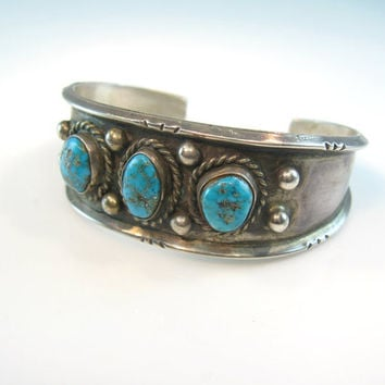 Navajo Bracelet Turquoise Sterling Silver Cuff Carinated Signed Vintage Native American 1970s Jewelry 1.1 oz Mother's Day Gift