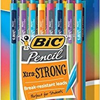 BIC Pencil Xtra Strong Colorful Barrels, Thick Point (0.9 mm), 24 Count