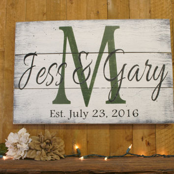 Name Sign Initial Sign Pallet Sign Personalized Wedding Gift Bridal Shower Gift Housewarming Gift Anniversary Gift Vintage Shabby Chic Decor