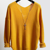 V-Neck Long Sleeve Furcal Sweater