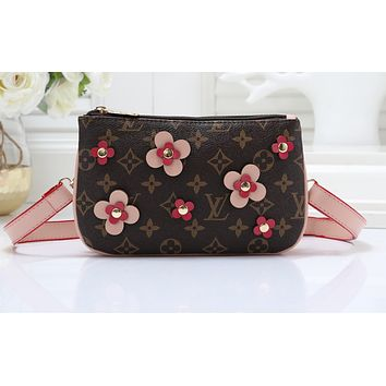 LV Fashion Sells All-India Women's Small Single Shoulder Bag Pink Flower