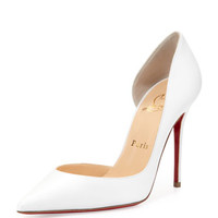 Christian Louboutin Iriza Red Sole Half-d'Orsay Pump, White
