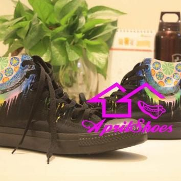 dream catcher converse colorful dreamcatcher on all black converse shoes unique drea