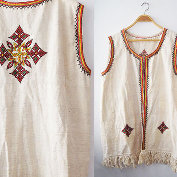 Vintage West Hippie Chic Handmade Embroidery Knitted cotton weaving  west fringes Ethnic Colorful  long Vest  Folk hand made Free shipping