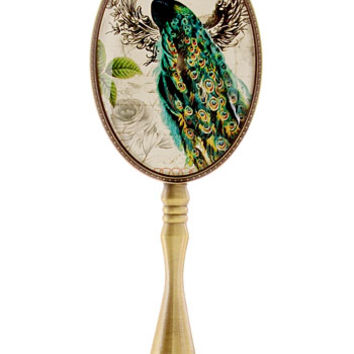 The Prettiest Peacock Bronzed Hand Mirror