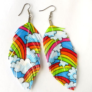 Rainbow Print Feather Earrings