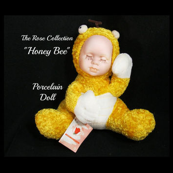 Rose Collection Doll - Honey Bee Doll - porcelain collector doll , Honey Bee porcelain  doll - limited edition doll -  1980's doll, # 4