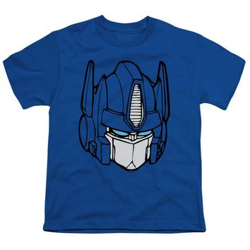 Transformers Kids T-Shirt Optimus Prime Face Royal Tee
