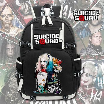 Fahsion Men Black Backpack Suicide Squad Harley Quinn Joker School Bags Laptop Shoulder Travel Bags Teenagers Rucksack Gift