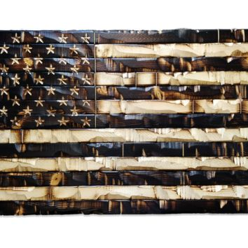 Rustic Wood Burned American Flag 59x32