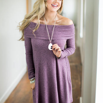 It Looks Good on YA Pocket Sweater Dress Mauve