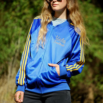 70s UCLA Track Jacket, 1970s Football Varsity Jacket, Blue + Yellow Trefoil Embroidered Zip Up Jacket, Sporty Athletic Sportswear Mens LARGE