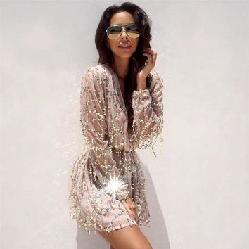 CREYONN Fringed white sequined long-sleeved dress package hip