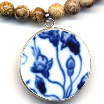 Corn Flower Necklace, Blue Porcelain Jewelry Necklace,  Chinese Pottery Pendant, Landscape Jasper Necklace, Handmade Jewelry by AnnaArt72