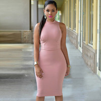Pinkish Cutout Back Turtle Neck Midi Dress