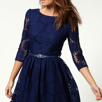 Half-Sleeve Lace Embroidered Dress