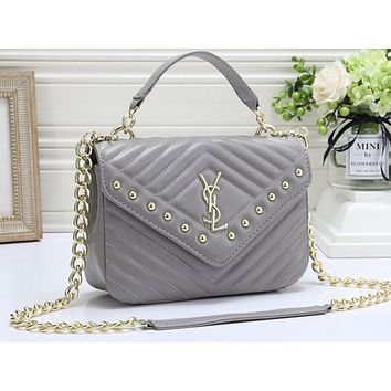 YSL Hot Selling Fashion Lady Pure Color Shopping Bag Single Shoulder Bag Grey