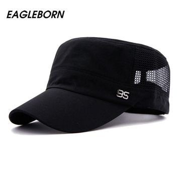 Simple 2017 Stylish Zinc Alloy 95 Logo Unisex Flat Roof Hat for Men Cadet Patrol Bush Mesh Baseball Field Caps