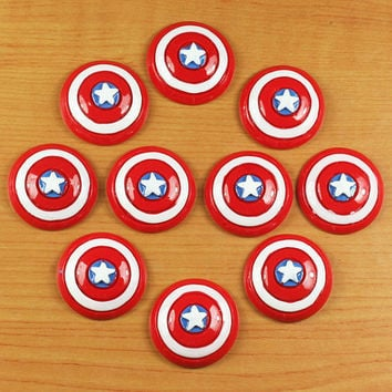 Wholesale 10pcs Avengers Captain America Shield Resin Cabochons Flatback Flat Back Scrapbooking Hair Bow Center Making Crafts Embellishments