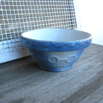Antique 1930s Blue Stoneware Bowl; Wedding Band Pattern - Wedding Band Pattern Stoneware Mixing Bowl - Salt Glazed Stoneware Bowl