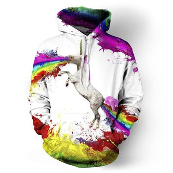 Rainbow Unicorn or LLama 3D printed Hoodies