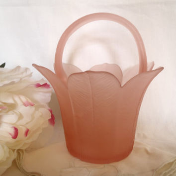 Pink Rose Vase | Depression Frosted Glass | Tulip Shape From the 60's