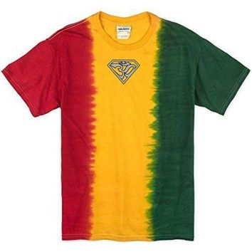 Yoga Clothing for You Mens Super Om (small print) Rasta Tie Dye Tee Shirt