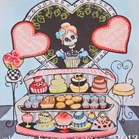 Cute Skeleton Day of the Dead Kitchen Decor Rockabilly Bakery Art Paris Shop Poster La Catrina Cocina Wall Art