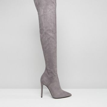 Kendall + Kylie Gray Stilletto Thigh High Boots at asos.com