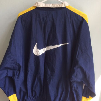 80s grunge blue/white/yellow nike windbreaker