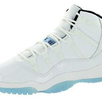 Nike Air Jordan 11 Retro BG Youth Baskeball Shoes, WHITE/LEGEND BLUE-BLACK, 3.5Y M US
