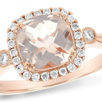 14K Rose Gold Cushion Cut Morganite and Diamond Halo Ring