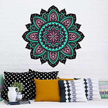 "Mandala Wall Decals Full Color Murals Yoga Ornament Geometric Colorful Floral Namaste Vinyl Decal Stickers Bohemian Boho Home Decor EN19 (17"" Tall x 17"" Wide)"