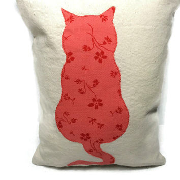 Cat Applique VERY Small Decorative Pillow, Cotton Canvas Pillow, Colorful Pillow, Stenciled Pillow, Accent Pillow, Couch Pillow,Throw Pillow