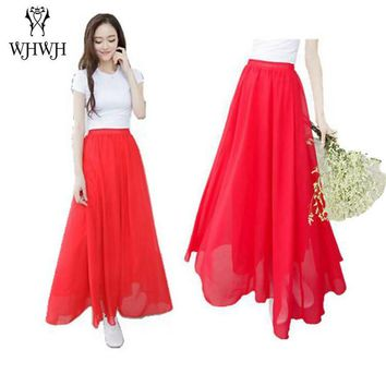 Women Chiffon long saia Candy Color Pleated Women Skirts 2017 Summer Skirts in floor 100cm length 19Colors long saia