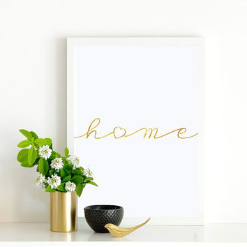 "Real Gold Foil Print ""Home"", Gold Foil, Typography, Wall Art, Gold Foil Decor, Minimalist Poster, Gold Foil, Gold Wall Art, Home Decor."