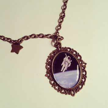 Astronaut Cameo Necklace  by RabbitJewellery on Etsy