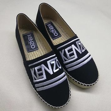 KENZO Women Fashion Embroidery Espadrilles Flats Shoes
