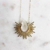 Splendor and Stone Sunburst Quartz Crystal Necklace