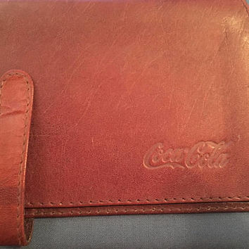 Vintage Coca Cola Leather Wallet with Calculator and Checkbook holder, Coca Cola Collectible, Coke Memorabilia, Casio Calculator