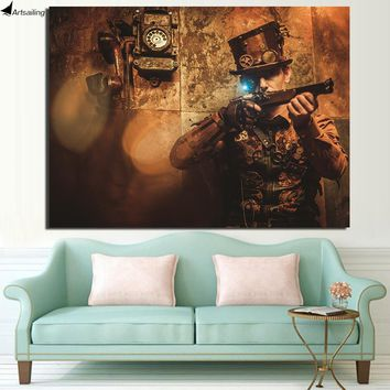 Steampunk Vintage Poster HD Printed Wall Art  Canvas
