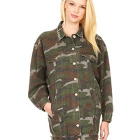 LE3NO Womens Oversized Long Military Camo Anorak Jacket with Pockets